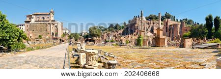 High resolution panoramic view of the ruins of the Roman Forum in central Rome, Italy