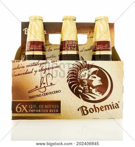 Winneconne WI - 1 September 2017: A six pack of Bohemia beer on an isolated background.