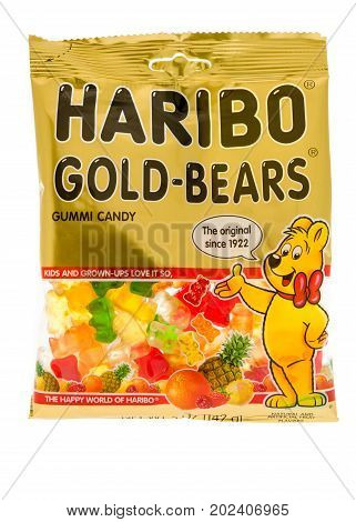 Winneconne WI - 17 August 2017: A bag of Haribo Gold Bears gummi candy on an isolated background.