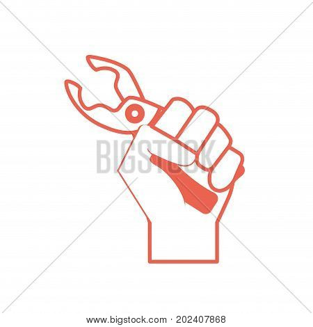 silhouette pincers equipment service industry repair in the hand vector illustration