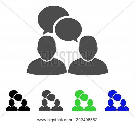 People Dialog vector icon. Style is a flat graphic symbol in black, gray, blue, green color variants. Designed for web and mobile apps.