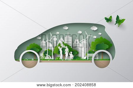 concept of eco car with family and nature in the city.paper art and craft style.