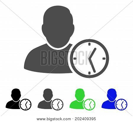 User Temporary Clock vector icon. Style is a flat graphic symbol in black, grey, blue, green color versions. Designed for web and mobile apps.
