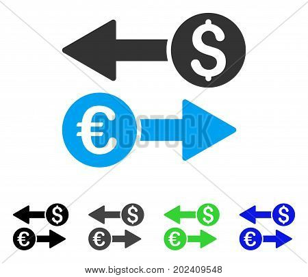 Currency Transactions vector pictograph. Style is a flat graphic symbol in black, grey, blue, green color variants. Designed for web and mobile apps.