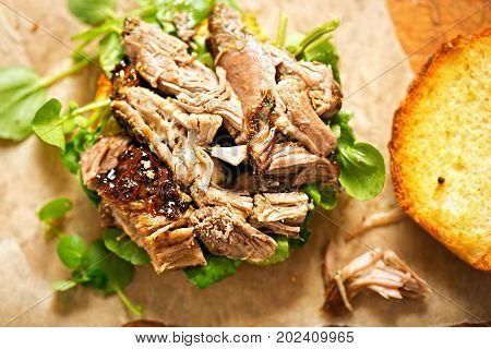 Slow cooked lamb & watercress burger buns