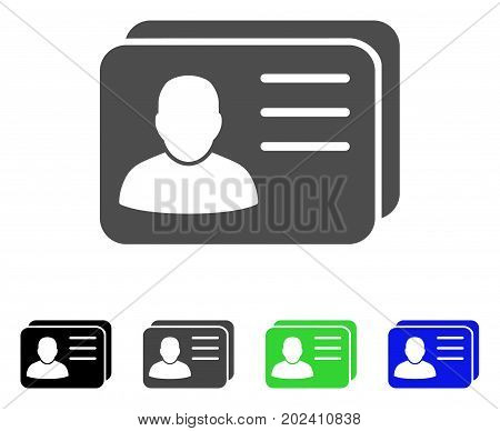 Account Cards vector pictogram. Style is a flat graphic symbol in black, grey, blue, green color variants. Designed for web and mobile apps.