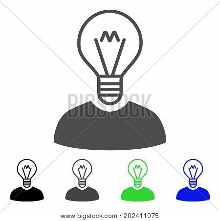 Bulb Inventor vector icon. Style is a flat graphic symbol in black, gray, blue, green color variants. Designed for web and mobile apps.