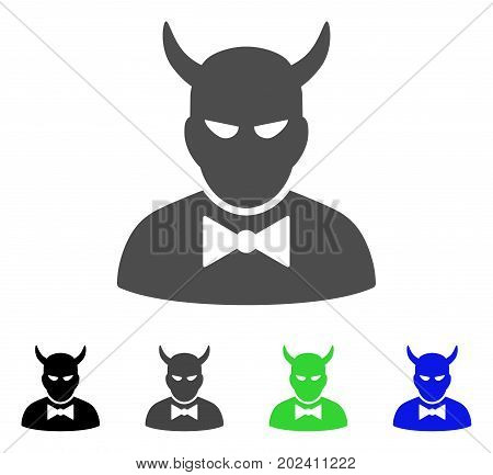 Devil vector pictograph. Style is a flat graphic symbol in black, grey, blue, green color variants. Designed for web and mobile apps.