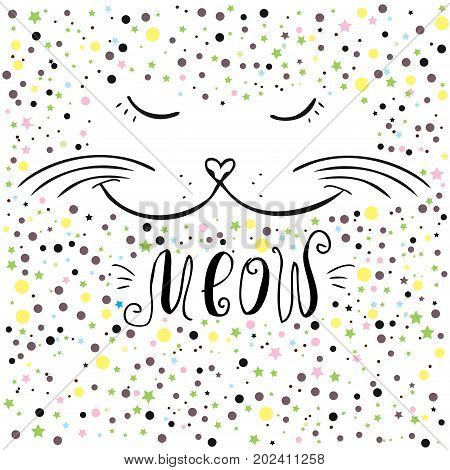 Cute Cat And Meow Lettering