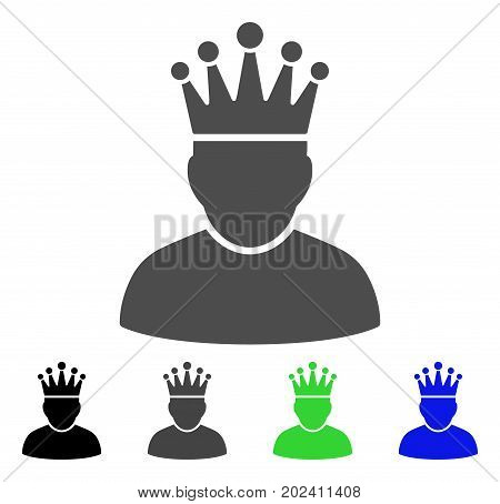 King vector icon. Style is a flat graphic symbol in black, gray, blue, green color versions. Designed for web and mobile apps.