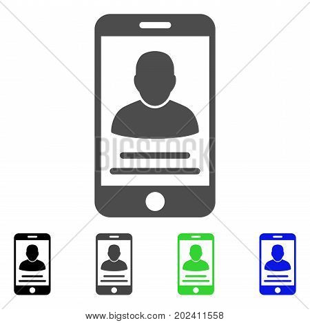 Mobile Account vector pictograph. Style is a flat graphic symbol in black, gray, blue, green color versions. Designed for web and mobile apps.