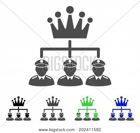 Monarchy Structure vector pictogram. Style is a flat graphic symbol in black, gray, blue, green color versions. Designed for web and mobile apps.