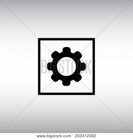 Cogwheel isolated vector sign. Cogwheel flat vector icon. Settings menu square button.