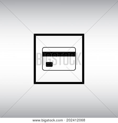 Credit card flat vector icon. Bank card isolated vector sign. Debit card round button.