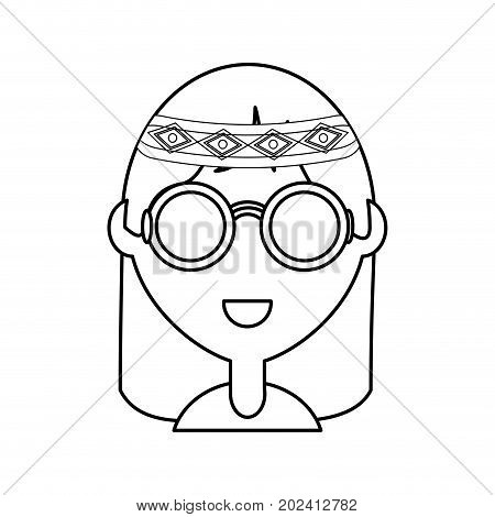 uncolored hippie woman  over white  background vector illustration