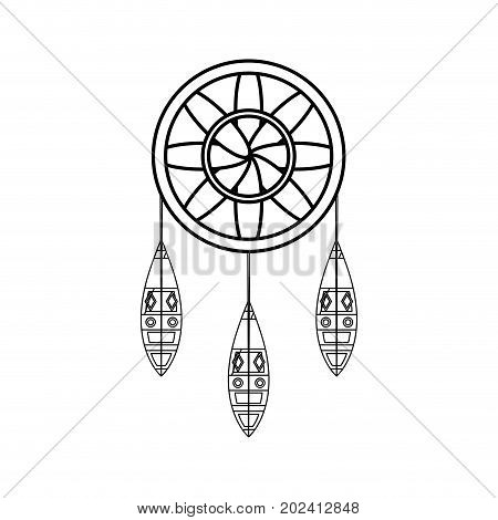 uncolored dream catcher over  white background vector illustration