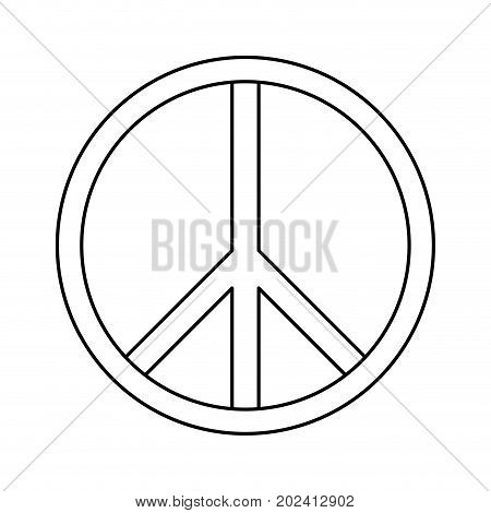 uncolored symbol peace over white  background vector illustration