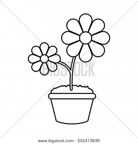 uncolored, flower plant over  white background vector illustration