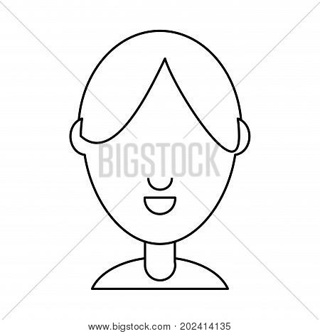 uncolored   face man  over white vector illustration