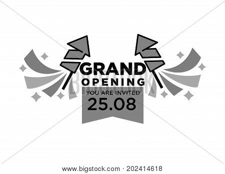 Invitation to grand opening ceremony on 25 August with fireworks rockets and big thick sign monochrome isolated cartoon flat vector illustration on white background. Great event promotional poster.
