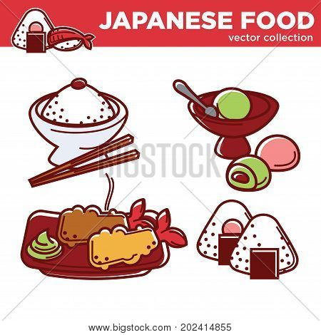 Japanese food vector collection with rice in bowl with wooden chopsticks, lobster in batter with wasabi sauce, sweet ice cream balls with filling and unusual mochi dessert illustrations set.