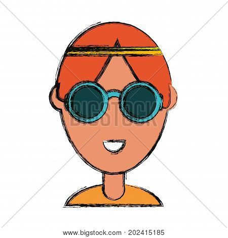 colorful   hippie man over  white background vector illustration