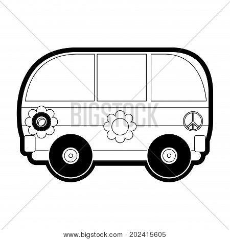 hippie van icon over white background vector illustration