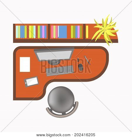 Office work place with computer, modern tablet, colorful folders with documents, plant in pot and comfortable leather chair isolated cartoon vector illustration on white background, view from top.