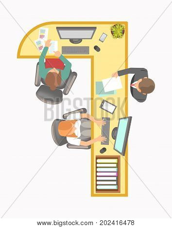 Long angular office table with modern devices and computers, piles of documents, workers that sit and do their job, client in suit that gives paper isolated vector illustrations on white background.
