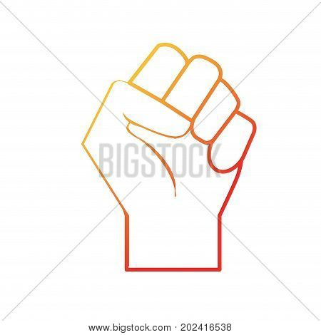 line hand tight with all fingers design vector illustration