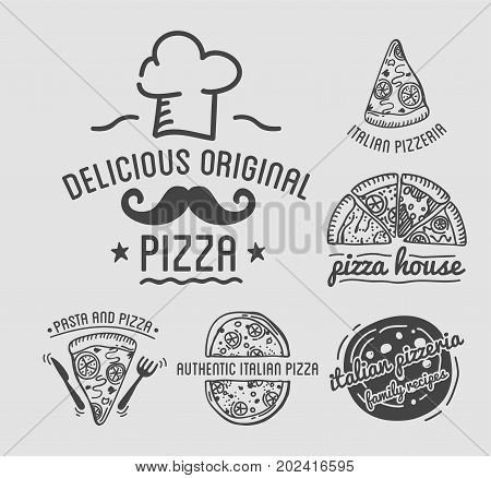 Delicious original Italian pizza house monochrome emblems set. Cook cap, curly mustache, small cutlery and pieces of pizza isolated vector illustrations. Authentic pizzeria with family recipes.
