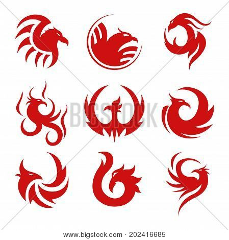 Tattoo templates made in red inks with animalistic motives isolated cartoon vector illustrations set on white background. Bird head with long beak and large wings curled in pattern with lot of swirls.