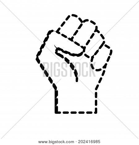 dotted shape hand tight with all fingers design vector illustration