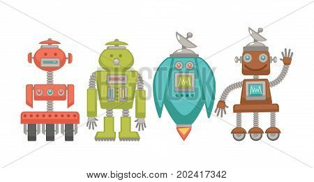Metal robots with powerful satellite, on small wheels, with human-like limbs and on turbine that produces fire and allows to fly isolated cartoon vector illustrations set on white background.