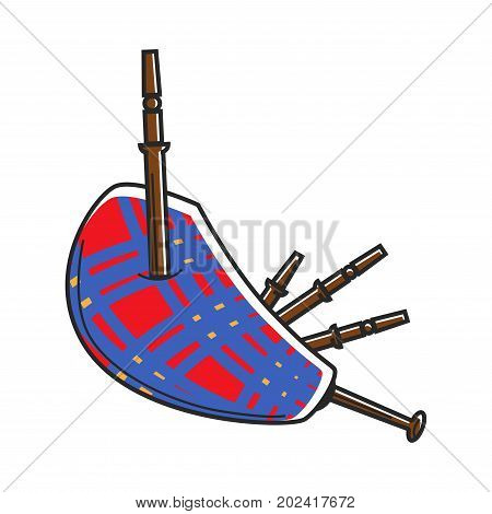Traditional Scotland checkered loud bagpipes isolated cartoon flat vector illustration on white background. National wind musical instrument made of fabric and wooden tubes that stick out of it.