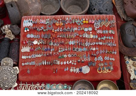 Jewelry earrings souvenirs and handicrafts for sale on marketplace Kathmandu Nepal