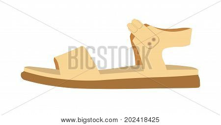 Womens comfortable casual leather sandal on flat solid rubber sole isolated cartoon flat vector illustration on white background. Summer footwear of cream color with thick belts and soft insole.