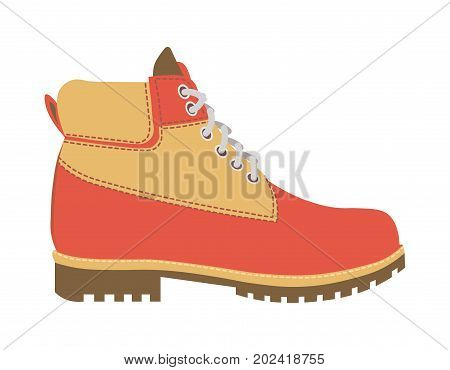 Warm winter leather boot with short laces, small stitches and fur wadding on uneven sole isolated vector illustration on white background. Comfortable footwear that keeps warmth in cold weather.