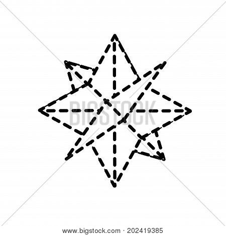 dotted shape compass symbol to geography adventure direction vector illustration