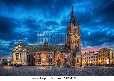 HDR image of Riddarholmen Church at dusk located in Old Town (Gamla Stan) of Stockholm Sweden