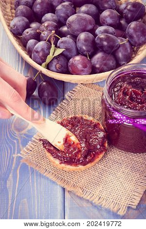 Preparing Sandwiches With Homemade Plum Marmalade Or Jam, Sweet Breakfast Or Dessert Concept