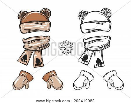Winter accessorises set. Vector bear hat scarf and mittens