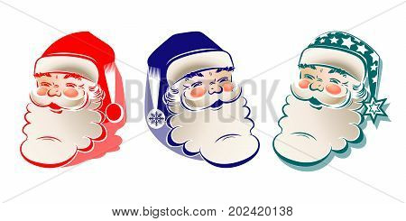 christmas silhouette, drawing of a head of merry Santa claus, set