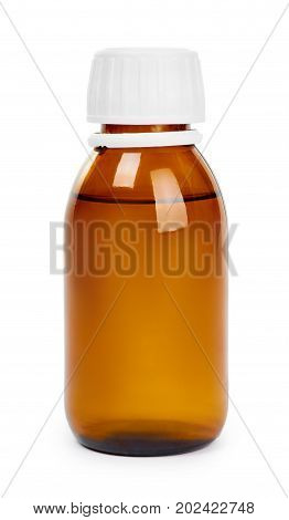 Syrup Mixture Glass Bottle. Isolated On White Background