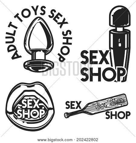 Vintage sex shop emblem. Vector illustration, EPS 10