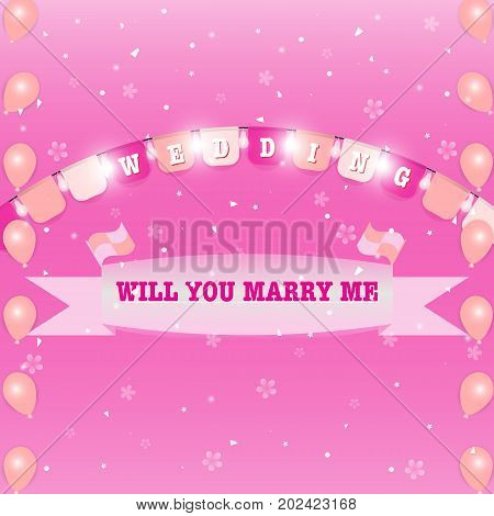 Wedding flags and marry ribbon sweet background stock vector