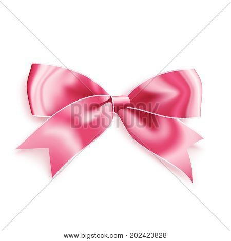 Realistic satin pink bow knot. Vector illustration icon isolated on white.