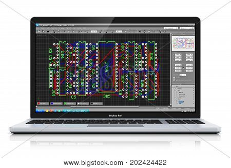 3D render illustration of professional notebook or laptop with PCB development software isolated on white background