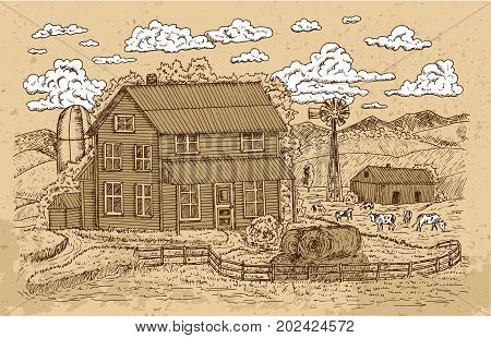 Old farm or ranch with farmhouse, cows and white clouds on texture background. Vintage vector engraving, hand drawn design illustrations for label, poster. Rural farm concept