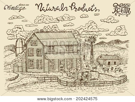 Design set with od milk farm, farmhouse, farmland, cows and lettering. Vintage vector engraving, hand drawn design illustrations for label, poster. Rural farm concept